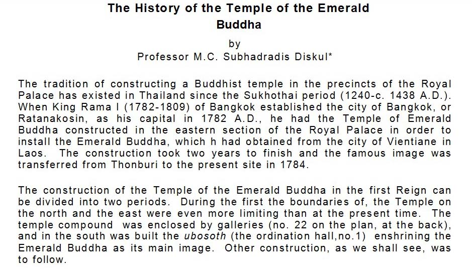 History of the Emerald Buddha page 1